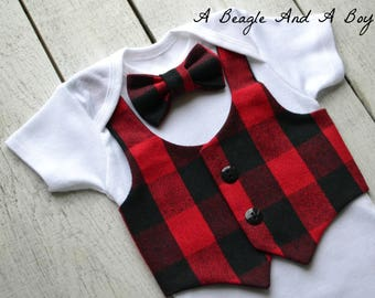 Lumberjack Baby Boy Clothes Bow Tie Vest Outfit Buffalo Plaid Coming Home Boys First Birthday Onesie Newborn Clothing Bodysuit3Bowtieoptions