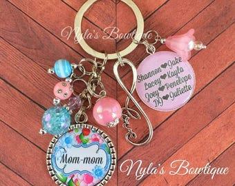 Personalized Keychain, Family Keychain, Mom Keychain, Mother's Day Gift, Mother Keychain