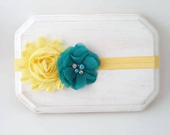 Teal and Yellow Headband - Newborn Headband - Baby Girl Headband - Teal Headband - Flower Girl Headband - Yellow Headband - Teal Cake Smash