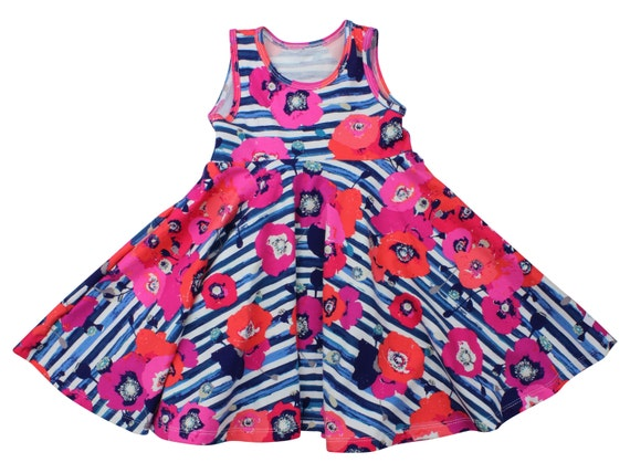 Blue Coral Floral Twirl Dress Twirly Dress Summer Dress Toddler Dress Child Dress Baby Dress Girl Twirl Dress Paparounes Crimson Dress