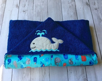 Hooded Baby Towel, Toddler Hooded Towel, Whale Towel, Whale Beach Towel, Nautical Towel, Navy, Gray Red Towel, Nautical Baby