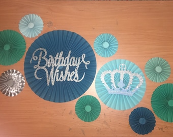 "10 blue paper rosette "" birthday wishes"""