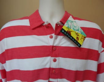 80s red and white striped polo shirt, new old stock