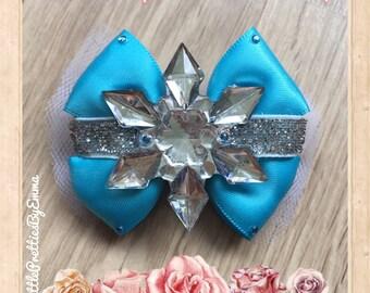 Princess bow, Princess hair bow, Hair bow, Frozen bow, Frozen hair bow, Satin bow, Disney inspired hair bow, Elsa inspired bow, Elsa bow