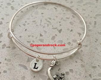 Gondola initial bangle, gondola charm bracelet, gondola jewelry, travel jewelry, Italy bangle, Venice necklace, Europe jewelry