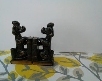 Vintage Poodle Bookends - Japanese Redware Poodles w/ Books & Pen Holder Desk Accessory Office Decor - 1950s 1960s