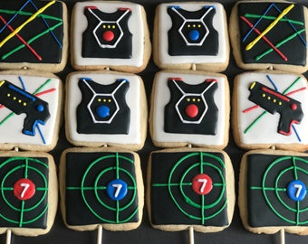 12 LASER TAG videogame remote control or PAINTBALL inspired cookies   - video game themed bday party video,game truck, teenager,adult,teen