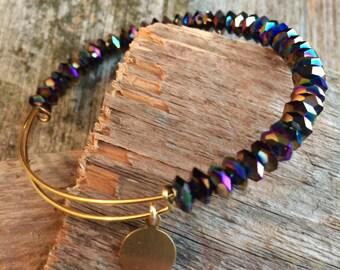 Expandable Beaded bangle bracelet, Black bangle inspired, beaded bangle, adjustable bangle, crystal bangle, expandiable bracelet bangle