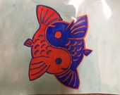 Koi fish etsy for Blue and orange koi fish