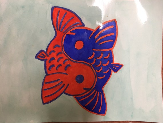 Blue orange yin yang koi fish watercolor painting for Blue and orange koi fish