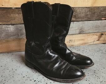 Vintage 80's black leather roper boots - sz. 8