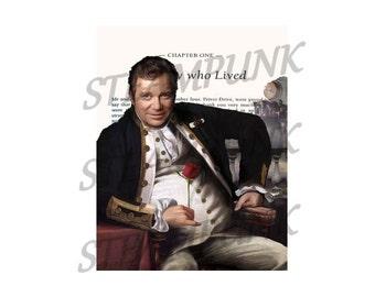 illustration of star trek - Captain Kirk, victorian steampunk - print - art print - on vintage book page - painting - wall decor