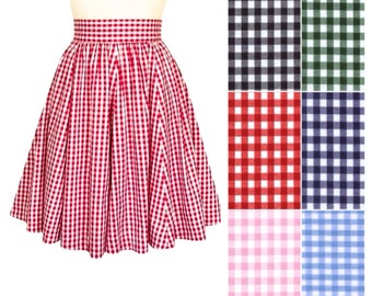 Red gingham skirt, 1950s swing skirt, twirly skirt, pink gathered skirt,knee length, black full skirt, high waisted, pin-up clothing