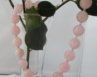Beautiful Faceted Rose Quartz Sterling Silver Necklace