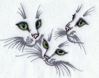 KITTEN TRIO FACES Of Cats, Felines Green Eyed Cuties Machine Embroidered Quilt Square, Art Panel
