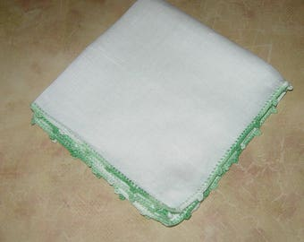 Vintage White Hankie With Mint Green Crocheted Edging