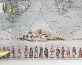 Antique Restored French Map of the World - Circa 1870  - Canvas Reproduction