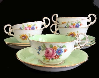 6 Royal Grafton Teacups and Saucers, Six High Handled Pale Green Floral Tea Cups