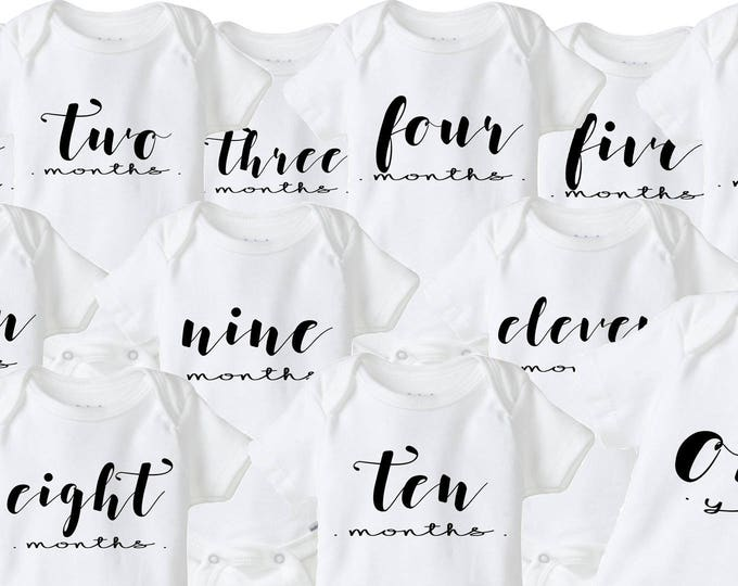 Baby's First Year Monthly Milestone Baby Onesies®- Set of 12 Monthly Baby Bodysuits for Boy or Girl, Baby Shower Gift Idea, Photo Prop
