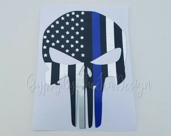 Thin blue line Punisher decal, back the blue decal, police decal, punisher flag decal, punisher decal