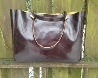 Brown Leather Bag - BELLA Dark Chocolate – Medium Size Handmade Leather Bag