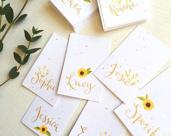 Custom hand written calligraphy wedding place cards // White card name cards // Custom wedding place names