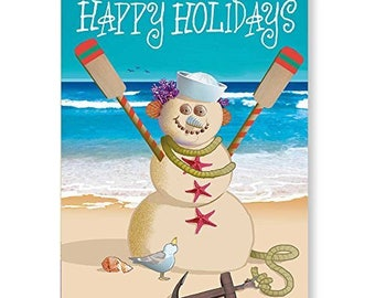 Beach Snowman Nautical Theme Christmas Card - 18 Cards/ 19 Envelopes - 30056a