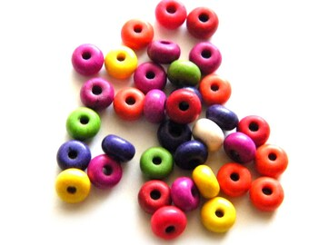 50 Tiny Donut Rondelle Beads 6x3mm