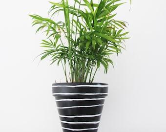 Black Stripe Plant Pot - 15cm