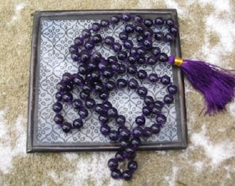 WholesaleGemShop-Amethyst Mala. 108 Beads on Knotted Silk with Free Shipping