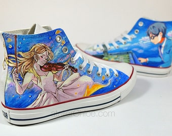 Custom Painted Anime Converse Manga Sneakers Music Lovers Shoes Anime Art Anime  Personalized Shoes Hand Painted Converse Gift for Her & Him