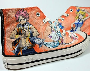 Custom Painted Fairy Tail Themed Inspired Converse Anime Sneakers Manga Converse Mens Converse Shoes Painted Womens Shoes Manga Sneakers