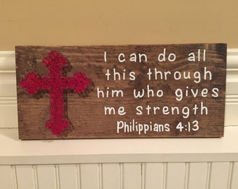 MADE TO ORDER String Art Cross With Painted Verse Philippians 4:13