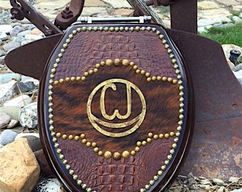 CJ  Brand Design Western Leather and Cowhide Toilet Seat