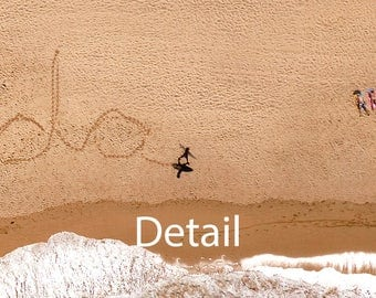 "Personalised Photo. Your name ""written"" in the sand by a surfer carrying his surf board......"