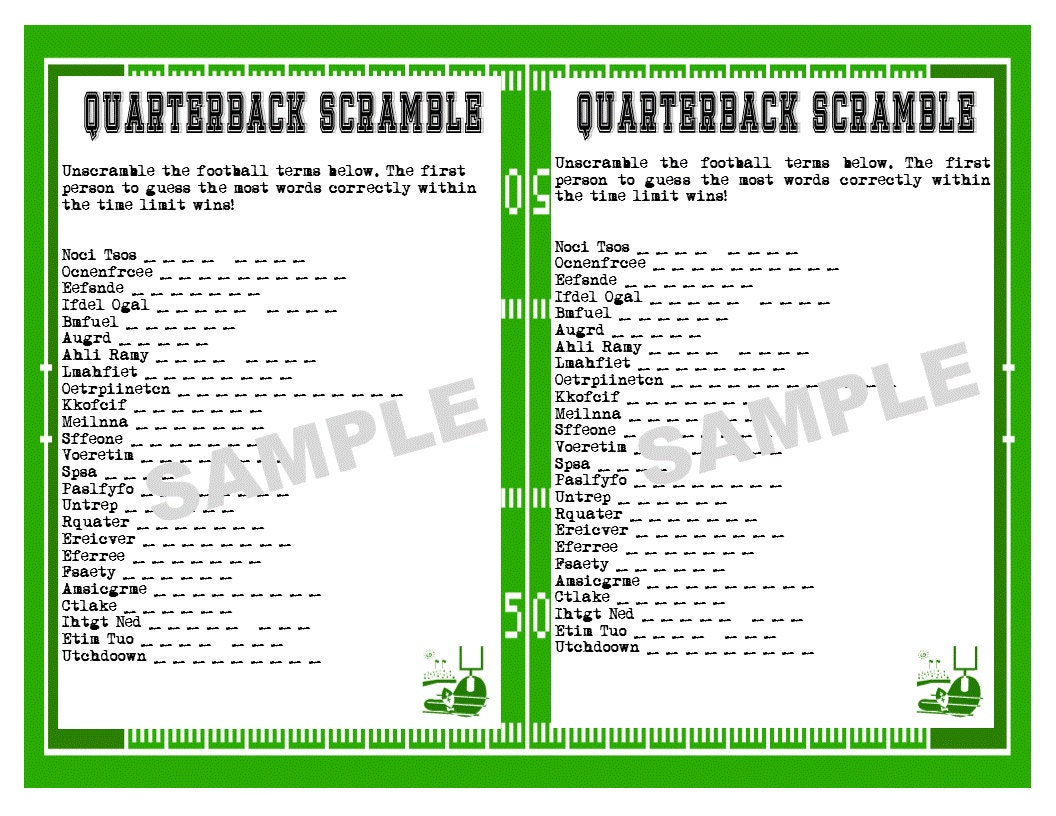 Football Printable Word Scramble Game Super Bowl Bachelor