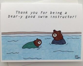 Swim Instructor Thank You Card - 5x7