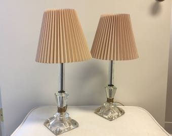 Etched Clear Glass Bedside Lamps With Shades Mid Century Vintage 1960s