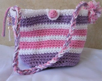 little girl purse, crochet stripe bag, Easter gift for girl's, pink white lavender colors, over the shoulder sak, present from Grandmom