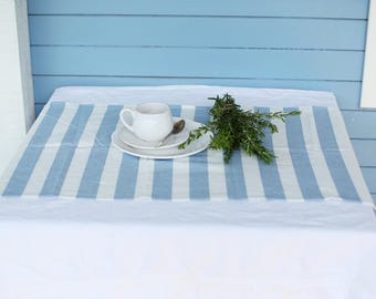 LIMITED EDITION Handmade striped (blue/white) linen table runner inspired of living by the Sea