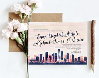 Seattle, WA Watercolor Skyline Wedding Invitations | 4 Piece Invitation Stationery Suite | CUSTOMIZED to Match Your Wedding