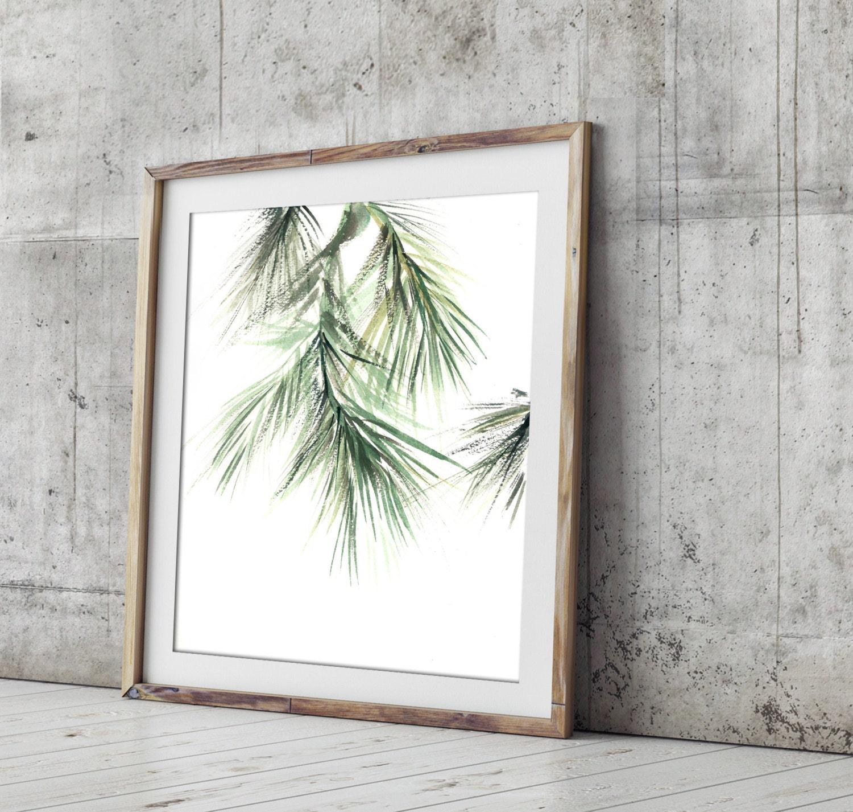 Minimalist Pine Tree: Minimalist Green Art Print Pine Tree Brunch Painting