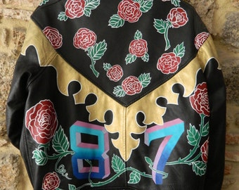 Handpainted vintage leather jacket