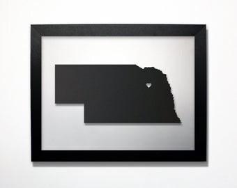 Nebraska Map / Laser Cut Map / Nebraska State Art / Nebraska Art / Framed State Map / Nebraska Gift / Wedding Gift / Anniversary Gift