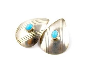 1970s Eye Catching Sterling Silver Tear Drop Turquoise Earrings