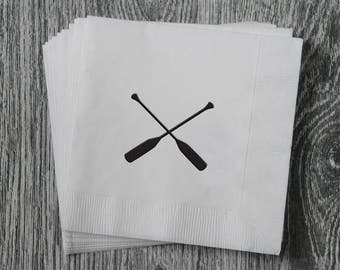 Canoe Oars Silhouette - Foil Stamped Hand Printed 3-ply Napkins - Set of 10