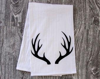 Antlers Silhouette - Hand Pulled Screen Printed Tea Towel