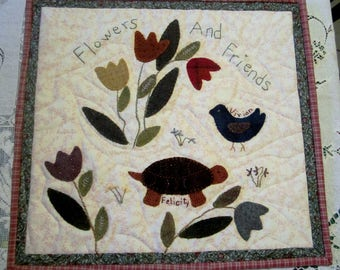 Primitive Folk Art Wool Applique Quilt, Mat or Wall Hanging - Flowers And Friends