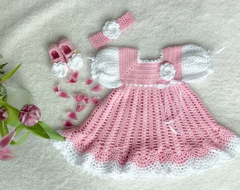 Crochet pink babydress with hairband and shoes