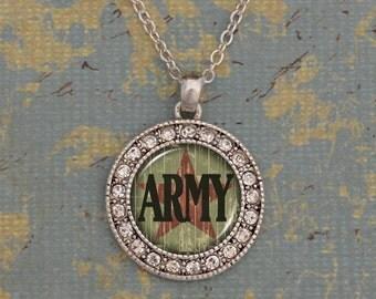 Army Rhinestone Circle Charm Necklace